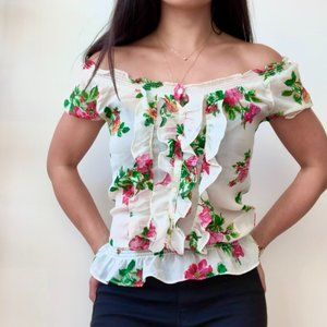 Hollister Floral Button-Down Short Sleeve Blouse
